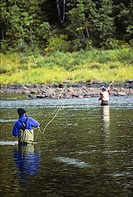 Salmon Fishing on the Miramichi River, Grey Rapids Pool, New Brunswick, Canada