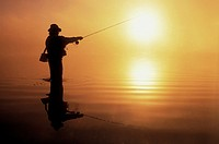 Fisherman at sunset, British Columbia, Canada