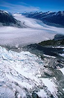 Coast Range, Silverthrone Mountain icefields, Klinaklini glacier, British Columbia, Canada