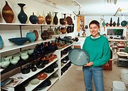 potter/ceramic artist Mary Fox in her studio, Ladysmith, British Columbia, Canada