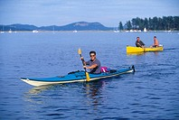 paddlers return from Sidney Spit, Sidney, Vancouver Island, British Columbia, Canada