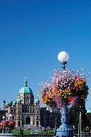 Flower baskets hanging from lamp posts with the Parliament buildings beyond, Victoria, Vancouver Island, British Columbia, Canada