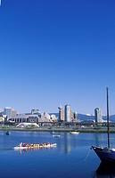 Dragon boat racers in False creek, Vancouver, British Columbia, Canada
