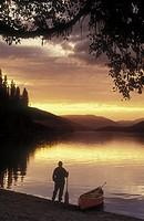 canoeist on Bowron Lakes, British Columbia, Canada