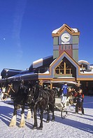 Big White Ski Resort, Sleigh by clock tower, 56 km SE of Kelowna, Okanagan Valley, British Columbia, Canada