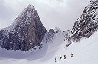 Ski touring the in the Bugaboo Mountains, British Columbia, Canada