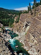 Whitwater rafter float through Lower Elk River Canyon in Elk Valley near Fernie, East Kootenays, British Columbia, Canada
