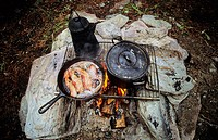 Cooking over a backcountry campfire, British Columbia, Canada
