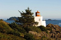 Wild pacific trail at Ucluelet, Amphritite Point lighthouse, Vancouver Island, British Columbia, Canada