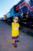 Boy Beside Train