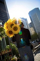 Man walking with Sunflowers on Shoulder, Montreal, Quebec