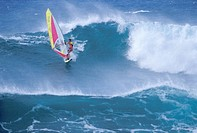 Windsurfer Riding a Wave
