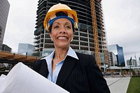 African businesswoman wearing hard hat
