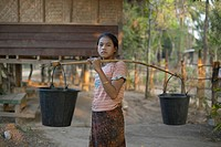 Girl with Water Buckets, Laos