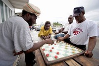 Group of Locals Playing Checkers, Nassau, Bahamas