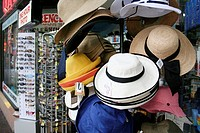 Sunhats at gift shop, Circular Quay Terminal, Sydney, New South Wales, Australia