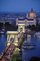 Chain Bridge, Gresham Palace, Basilica. Budapest. Hungary.