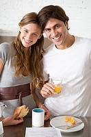 Portrait of a couple having breakfast