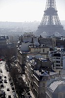 The street of Paris with Eiffel Tower in the background. Paris. France