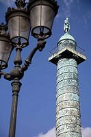 Column of Place Vendome with Napoleon's statue on top. Paris. France
