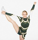 Cheerleader 16-17 with raised leg, portrait