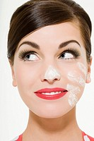 Woman with flour on her face