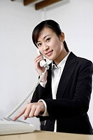 Receptionist answering call