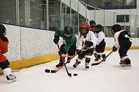 Hockey Players Challenging for the Puck