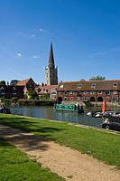 Church at riverbank, Thames River, Abingdon, Oxfordshire, England