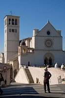 Tourists in basilica, Basilica Of San Francesco D´Assisi, Assisi, Perugia Province, Umbria, Italy