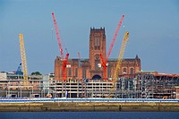 Cranes at construction site, Merseyside, England
