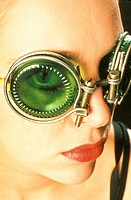 Woman wearing futuristic glasses