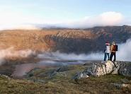 Couple in mountain landscape
