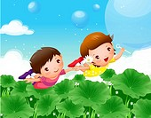 Boy and a girl flying over plants and making soap bubbles