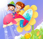 Boy and a girl riding a dolphin