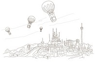 Low angle view of hot air balloons over a town