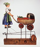 mechanisches Theater, Puppentheater, Puppe, Puppen, Puppenspiel, Figur, Figuren, Frau, Mutter, Kinderwagen, Tracht, Bayern, Oberbayern, aus Theatrum M...