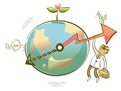 Businessman hanging from an arrow on a globe