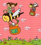 Boy and a girl sitting on a honey bee and flying with the honey container
