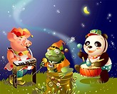 Panda and a pig with a frog playing musical instruments