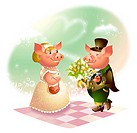 Male pig giving a bouquet of flowers to a female pig