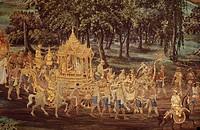 Thailand, Malerei, Kunst Rama und SIta kehren auf dem Götterwagen nach Ajudhja zurück, Ramakien 19 Jahrhundert,