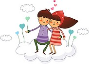 Couple sitting on a cloud and smiling