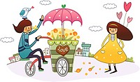 Male florist sitting on a flower cart and a woman holding balloons