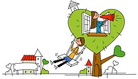 Woman swinging on a rope swing with another woman blowing a megaphone in the window of a heart shape house
