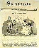 Frau, Karikatur, Titelblatt zun Spitzkugeln, Ernst Keil, Deutschland 1850, historisch, Mode,