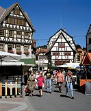 Germany, Schmalkalden, Stille, Schmalkalde Valley, nature reserve Thuringian Forest, Thuringian Forest, Thuringia, market place, half-timbered houses,...