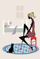 Side profile of a woman sitting on a stool with her cat