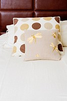 Pillow and cushions on the bed