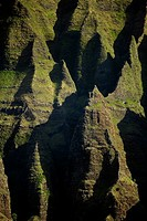 High angle view of rock formations, Na Pali Coast State Park, Kauai, Hawaii Islands, USA